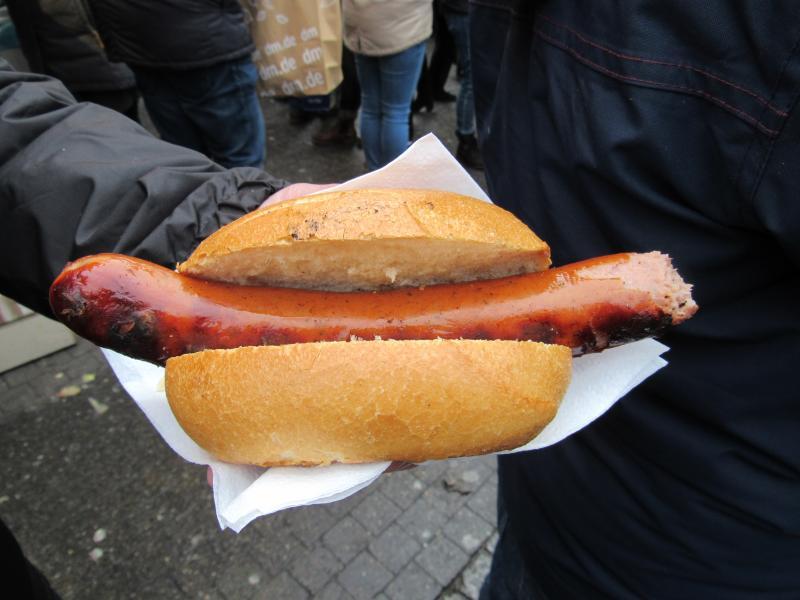 Salsichas tradicionais em Dusseldorf na Alemanha.